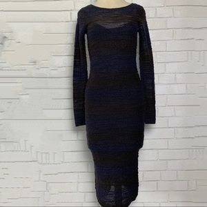 alice + olivia Long Sleeve Midi Dress Blue Black